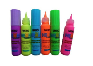 Neon Fabric Paint Pens by Leeho 20ml - safe, non toxic - set of 6