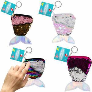 Mermaid Sequin Tail Purse & Keyring - Girls Kids Glitter Gift Pocket Money Cute