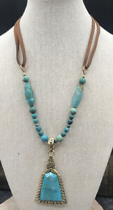 Barse Meridian Necklace- Leather, Turquoise & Bronze- NWT