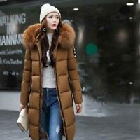 Womens Hooded Long Down Cotton Jacket Fur Collar Puffer Quilted Padded Coat New