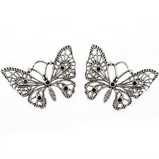 2pcs Large Butterfly filigree Tibetan Silver Bead charms pendant 45*40mm