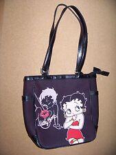 "Betty Boop pocketbook brown  w/ black trim handles bottom 8.5"" x 10"" x 3.5"""