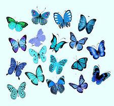 Lot de 54 papillons variés aqua-bleu-décoration comestible feuille azyme de riz