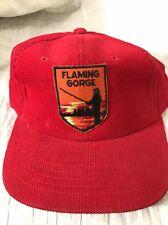 Vintage Trucker Hat Red Corduroy Flaming Gorge SnapBack Baseball Cap