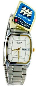 New Old Stock Citizen Watch White Face Stainless Steel Day & Date Water Resistan