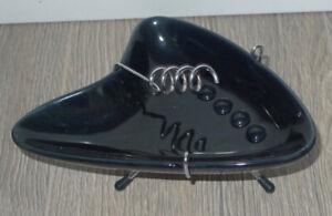 Retro MCM Style Boomerang/Atomic/Jetsons Black Ceramic Ashtray onStand