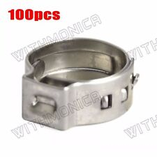"""100x 3/8"""" PEX 304 Stainless Steel Clamp Cinch Ring Crimp Pinch Fitting"""