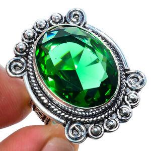 Emerald Quartz Gemstone 925 Sterling Silver Bali Ring s.8 T8611