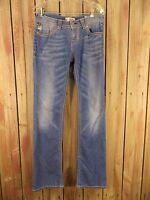 MEK Denim Jeans Orleans Boot Cut Distressed Blue Denim Women's Size 29 x 34