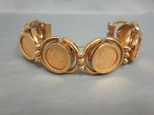 18K Gold Bracelet with 6 Mexican Five Peso Gold Coins That are 90% Pure Gold