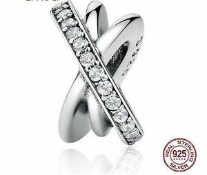 925 Sterling Silver Irregular Round AAA Zirconi Bead Charm Fits Bracelet Bangle