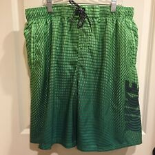Nike Size XL Men's Green Black Board Shorts Swim Trunks With Spellout