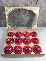 "Vintage Box of 12 Shiny Brite Pink Glass Christmas Tree Ornaments 8.25"" USA"