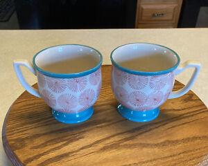 2 Pioneer Woman Ceramic Coffee Mugs Footed Cream Turquoise Trim Red Starburst