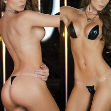 Bikini Gogo micorbikini METALLIZZATO String BRASIL NERO TRASPARENTE MINI NUOVO HOT