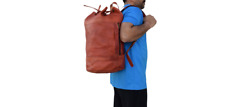 "20"" Vintage Leather Backpack Sports Gym Hiking Rucksack Daypack Shoulder Bag"