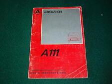 AUTOBIANCHI A 111: MANUALE USO E MANUTENZIONE