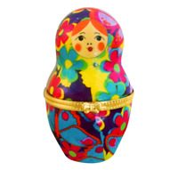 Nesting Doll Shaped Ceramic Trinket Box / Jewelry Keepsake