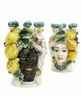 Coppia teste di moro re e regina limoni in ceramica siciliana di Caltagirone 20