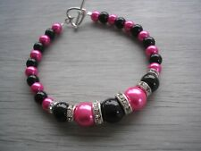 Coloured Pearl and Diamante Bracelet Silver or Gold plated Choose colours 6AA
