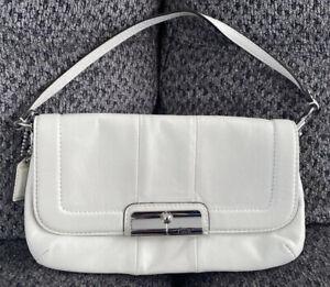 Coach Kristen Large Leather Wristlet Clutch Flap Shoulder Bag White 43645 EUC