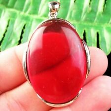 F37149 Wrapped Red Titanium Crystal Oval Pendant Bead 43x30x7mm