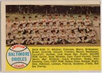 1958 Topps #408 Orioles Team EX-EXMINT Wrinkle Brooks Robinson FREE SHIPPING