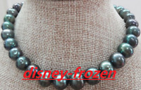 """18"""" AAA++ 11-12mm natural south sea black green pearl necklace 14k Gold"""
