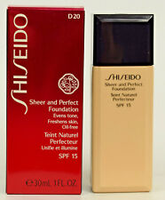 Shiseido Sheer and Perfect Liquid Foundation 30ml  SPF 15  Oil Free   Shade D 20