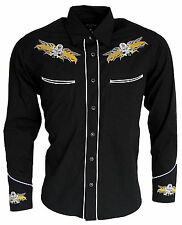 Mens Cowboy Western Rockabilly Skull Flame Shirt NEW Line Dancing Long Sleeve