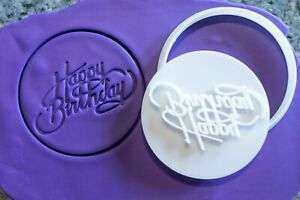 Happy Birthday - Type1, cookie, fondant cutter and embosser, 3D Printed