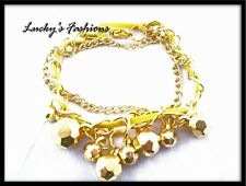 D2 Metal Chain Facetted Ball Charm BRACELET Yellow