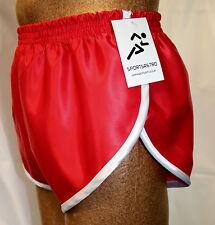 nailon Satén Sprinter Pantalones Cortos Rojo Con Blanco Detalle, Pequeña a Xxxxl