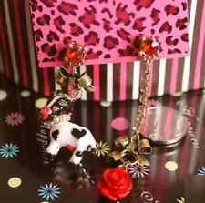 E487 Betsey Johnson Cute Farm Cow Cattle Milk Cow Dot Dangling Rose Earrings US