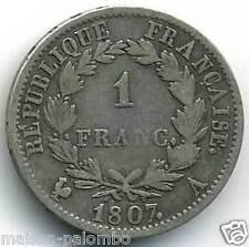 NAPOLEON Ier 1 FRANC ARGENT 1807 A PARIS TRES RARE !!!!