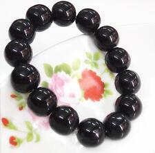 14 mm Beads Women Men Charm Black Artificial Obsidian Glass Hand String Bracelet