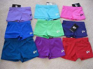 NWT GK Elite Solid Color Bar Mini Booty Gymnastics Dance Shorts - Child & Adult