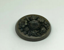Antique Victorian Vulcanite High Relief Intricately Carved Flowers Brooch Pin