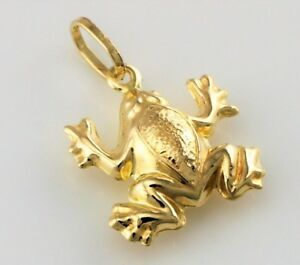 9ct Yellow Gold Frog Pendant / Charm