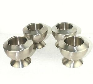 4 Viners Stainless steel bowls Double walled Ice cream Soup Hot Cold Desert  9