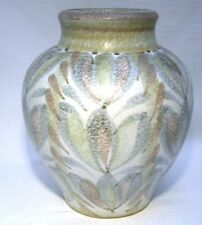 "MID CENTURY BOURNE DENBY HAND PAINTED GLYN COLLEGE WARE 9"" VASE"