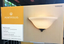 Portfolio Wall Sconce Oil-rubbed Bronze Finish Frosted White Glass Shade 0359230