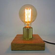 Loft Industrial Tischleuchte Edison Holz Sockel Vintage Lampe Schreibtisch Dekor