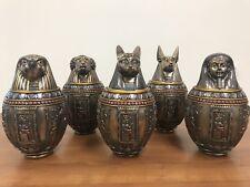 SET OF 5 - Egyptian Gods Bastet, Horus, Anubis, Imsety, Hapi Canopic Jars