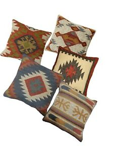 5 PC Set Vintage Pillow Cover Handwoven Throw Wool Jute Cushion Cover 18x18 Inch