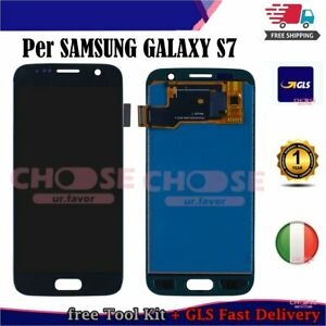 PER SAMSUNG GALAXY S7 G930F DISPLAY LCD TOUCH SCREEN SCHERMO VETRO NERO ASSEMBLY
