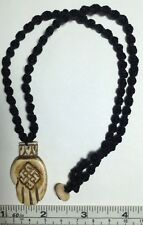 """Real Carved Bone, Buddha Hand with Endless Knot Pendant on macrame 20"""" Necklace"""
