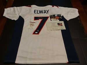 JOHN ELWAY BRONCOS SIGNED NFL FOOTBALL JERSEY AUTOGRAPHED WITH COA AND PHOTO