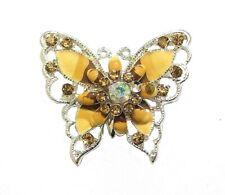 Silver Beige Brown Enamel Crystal Diamante Brooch Pin Women Dress Jewellery Gift