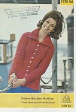 "Vintage retro Knitting Pattern P & B No 1370 LADIES CARDIGANS IN BIG BEN 34""38"